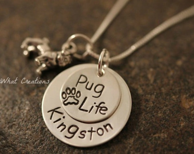 """Sterling Silver """"Pug Life"""" Personalized Pug Lover Necklace for Dog Owners or Dog Remembrance"""