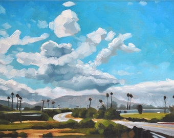 California Art Oil Painting -  12x16 - Clouds Over Rincon by Sharon Schock