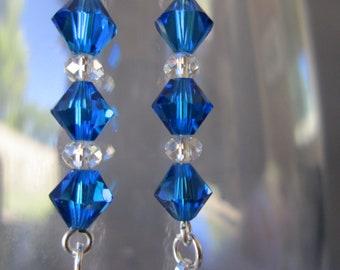 Swarovski earrings, dangle,  blue, long earrings. Drop earrings, fishhook, silver plated, gift for her.