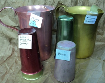 LARGE Lot of 8 pieces Vintage Anodized Aluminum Tumblers and Pitchers-SEE DETAILS!