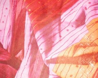 Towel fabric tones paper pattern fabric pink orange red... 33 cms