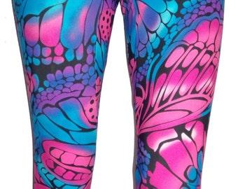 Butterfly Leggings, Printed Leggings, Yoga Pants, Running Pants, Pink and Blue Leggings