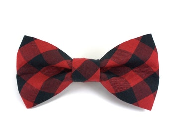 Plaid Dog Bow Tie | Red Buffalo Plaid Removable Dog Bow Tie | Made to Order