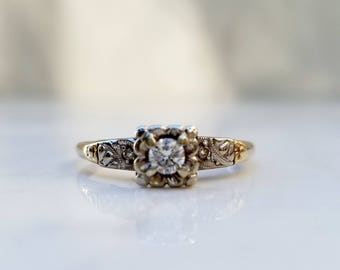 Vintage MidCentury 14k Solid Yellow Gold and White Gold Illusion Setting Diamond Engagement Ring with Side Diamond Accents, Size 6.75