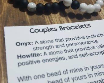 Couples bracelet, howlite bracelet, anniversary gift, together, stronger, Long distance gift
