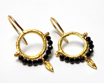 Earrings - Gold Earrings - 18 K Gold Earrings - Spinnel  earrings - Seeds Collection - Free Shipping!!!