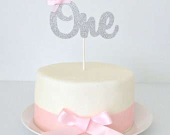 Silver One Cake Topper Silver Glitter One 1st Birthday