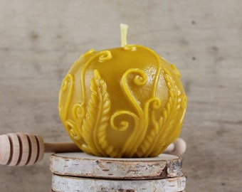 Fern Ball Candle. Burns cleanly  with natural beeswax aroma