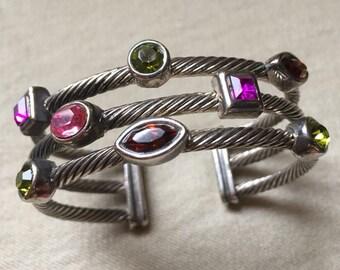 Wire and Stone Cuff Bracelet - 527