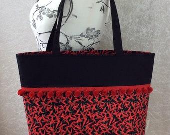 Handmade Beach tote shoulder bag Pom Pom shopping day bag purse fabric shopper Red Hot Chilli Peppers