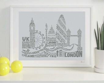 London Skyline Typography Print