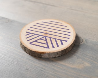 Single coaster, Office decor, Reclaimed wood coaster, Purple wooden coaster, Gift for co-worker, Block printed by hand
