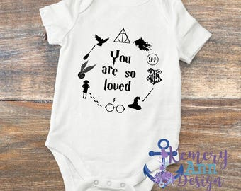 Harry Potter Bodysuit, Hogwarts Baby Bodysuit, You Are So Loved Bodysuits, Harry Potter Gift, Harry Potter Baby Shower Gift,Muggle Onesie