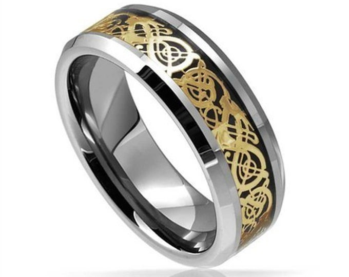 Celtic Dragons Ring Availavle in Silver- Blue- Rose Gold - Yellow Gold Tungsten Carbide Welsh Wedding Band 8mm-Comfort fit - For Dad Him Her