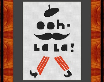 Ooh La La French Mustache Counted Cross Stitch Pattern in PDF for Instant Download