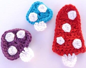 Crochet, Crochet applique, 3 crochet toadstools,  cardmaking, scrapbooking, appliques, handmade, sew on patches. embellishments