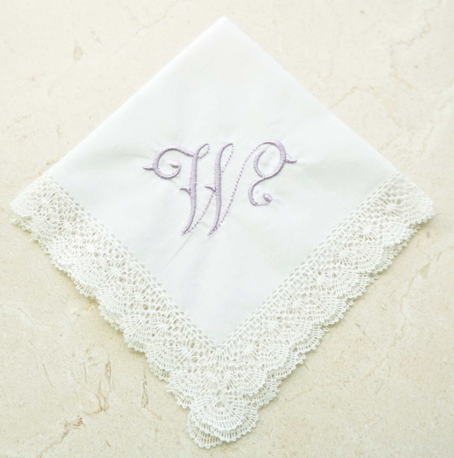 Hand Made Bobbin Lace Embroidered Handkerchief, Monogrammed Handkerchief,  Personalized Bridal Handkerchief, Wedding Handkerchief