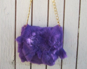 Bunny Foo Foo, Funky Purple rabbit, chain purse, with magnet closure