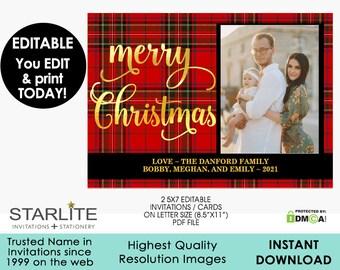 Photo Christmas Card, Tartan Plaid Photo Christmas Card, Christmas Photo Card Digital, Christmas Photo Card EDITABLE INSTANT DOWNLOAD