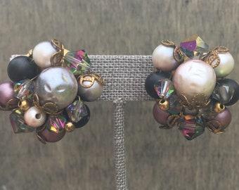 1950s Speakeasy Cluster Clip-On Earrings