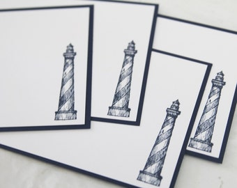 Lighthouse All Occasion Flat Note Cards Set of Ten, Masculine Stationery, Note Cards for Him, Lighthouse Thank You Cards, Nautical Notes