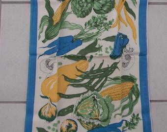 Vintage Linen Kitchen Towel Belcrest Prints Tag Summer Garden Vegetables
