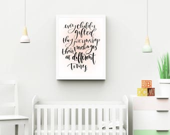 Gifted Child|Modern calligraphy|Digital Download|inspirational|printable|8x10