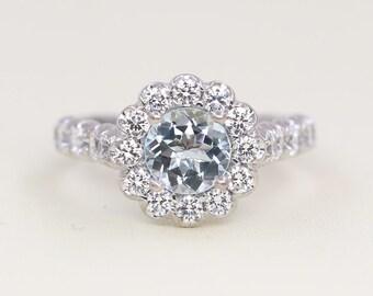 Aquamarine Engagement Ring.Diamond Engagement Ring.Natural 1.15CT Diamond.Diamond Wedding Ring.Modern Style Engagement.Unique Diamond Ring