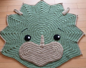 Dinosaur Rug - Triceratops Dino Rug - Child's Crochet Rug - Dinosaur Decor - Cera Tops the Triceratops - Nursery Rug - Baby Shower Gift