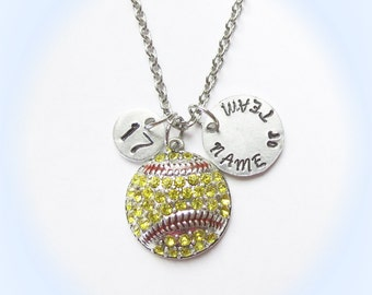 Ultra Personalized Softball Necklace, Softball Jewelry, initial or Jersey Number, Softball Coach Gift, Softball Mom, Softball Team Gift