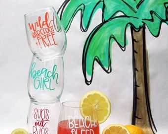 Beachy Wine Glass Set    Hand Lettered Stemless Wine Glasses    Set of Four Wine Glasses    Summer Wine Glasses