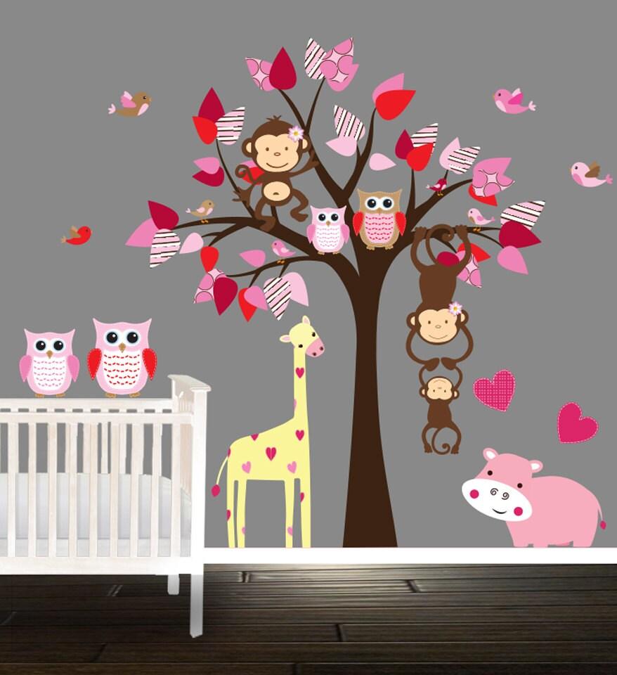 Wand-Baum-Aufkleber Baumschule Bäume Baby Nilpferd Giraffe