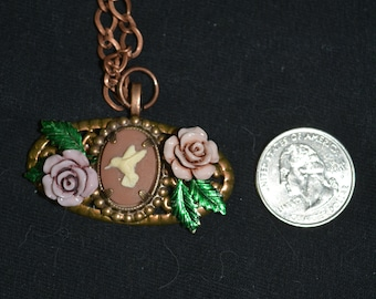 hummingbird cameo recycled brooch necklace bronze aged patina purple roses green leaves