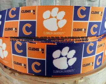 "3 yards of 1"" Clemson Tigers grosgrain ribbon"