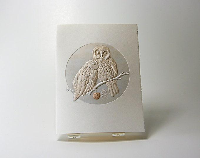 Pygmy Owls Love Card. Owl Notecard. Letterpress. Embossed. Single card. Blank inside.