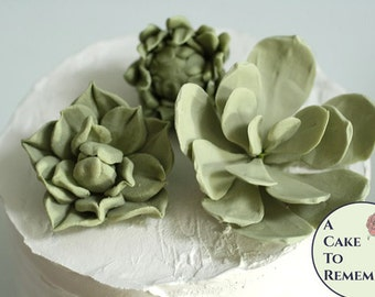 "Small succulent rustic wedding cake topper, 3 small wired gumpaste succulents, 1""- 3"" across. Edible flower cake decorating, sugar flowers."