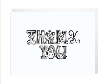 Thank You Card Illustrated Text - FREE SHIPPING