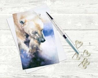 Polar Bear Greeting Card - Watercolor - Greeting Card - Blank Inside