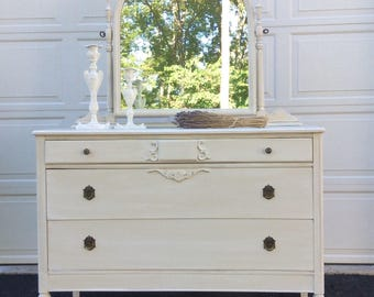 French Provincial Dresser, Cottage White Chest of Drawers, Distressed Shabby Chic Dresser with Mirror