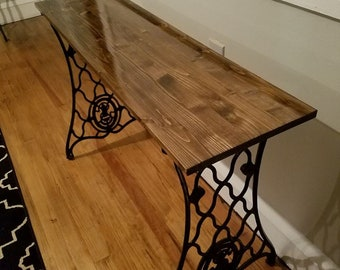 Sewing machine base sofa table, accent table