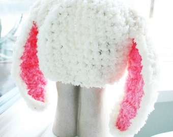 6 to 12m Baby Bunny Hat, Cream and Hot Pink Bunny Ears Easter Hat, Baby Hat, Baby Beanie Rabbit Hat, Photograpy Prop, Baby Gift