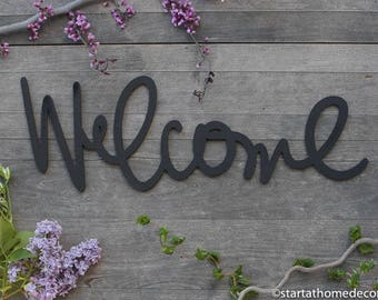 Welcome Typography Word Cutout | MDF word sign | Typography | Start at Home Decor
