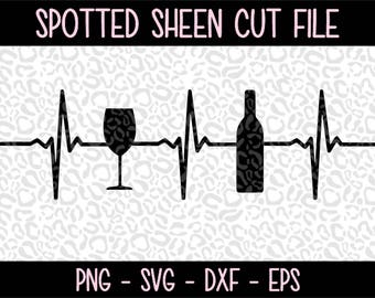 Wine Heartbeat  PNG SVG eps and dxf Files for Cutting Machines Cameo or Cricut