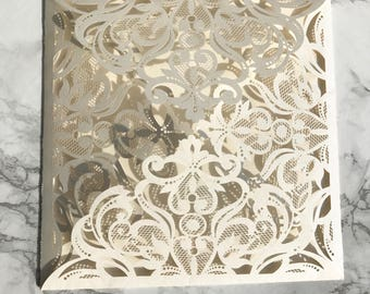 Pearl Ivory Laser Cut Gatefold Wedding Invitation DIY