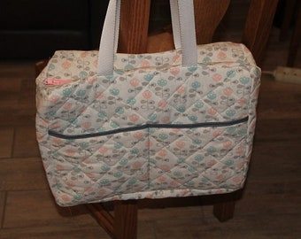 Flower pattern print quilted fabric diaper bag