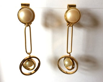 Clips, pendants, gold plated and beads, geometric, interlocking circles
