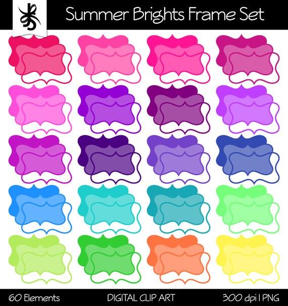 Digital Clipart Frames-Summer Brights Frames-Text Box-Borders ...