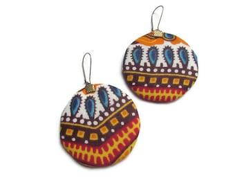 Ethnic earrings, round earrings, colorful earrings, red earrings, blue earrings, orange earrings, yellow earringswax, African fabric, ethnic