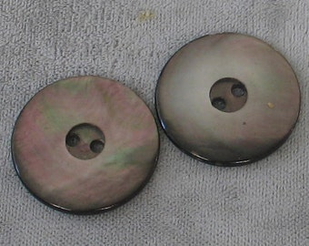 2 Vintage  20mm Carved  2 hole Abalone Buttons