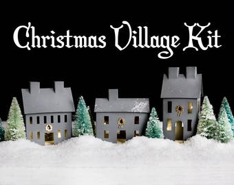 Christmas Village Kit - Holiday House Set with Bottle Brush Trees, Snow, and Lights